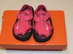Baby Girls Nike Sunray Protect TD water beach pool shoes 9C dark pink sandals*^ #Nike #WaterShoes