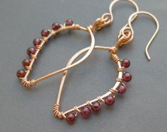 Wire Wrapped Copper Leaf Earrings with Garnet Beads January Birthstone