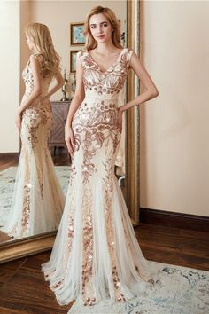 Gorgeous V-Neck Sleeveless Sequins Mermaid Evening Dress Long On Sale Affordable Prom Dresses, Prom Dresses Online, Homecoming Dresses, Formal Dresses, Latest Fashion Dresses, All Fashion, Evening Gowns Online, Mermaid Evening Dresses, Dress Long