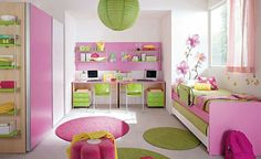 """Cute girls room! My room as a teenager was lime green and hot pink. I had a """"day bed"""" too! Love this!"""