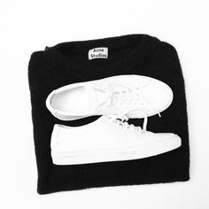 Acne Studios Mohair knit & Common Projects sneakers via OVRSLO. #flatlay #ovrslo #acnestudios #commonprojects