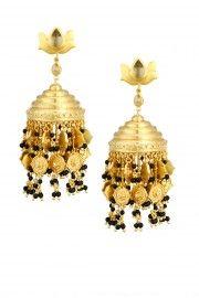 Black onyx beads chain tassel earrings