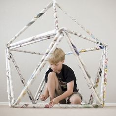 Newspaper Fort Use the power of triangles to create a massive fort made out newspaper.  Photo credit: Modern Parents Messy Kids