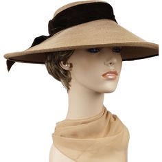 Vintage 1930s Hat Wide Brim Straw with Brown Velvet Ribbons by Pinehurst Sz 21