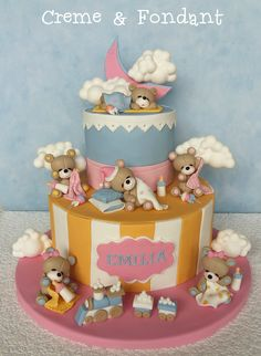 Time for sleep. - Cake by Creme & Fondant One Year Birthday Cake, Half Birthday Cakes, Birthday Ideas, Baby Shower Fun, Baby Shower Cakes, Baby Showers, Fondant Cakes, Cupcake Cakes, Teddy Bear Cakes