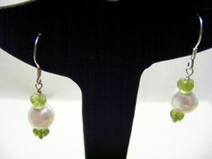 White Freshwater Cultured Pearl, Peridot and 925 Sterling Silver Earrings by carolsmalleydesigns on Etsy