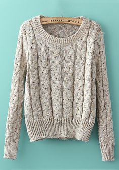 Beige Grey Colorful Long Sleeve Pullover