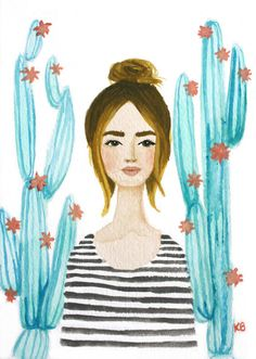 Print of Cactus girl original watercolor and gouache painting. Stripes, top knot, fashion illustration, chic, floral, succulents, mint coral