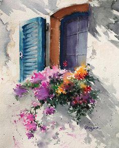 Sunny day☀️#watercolor #waterblog #watercolorart #watercolorpainting #watercolour #acuarela #aquarel #aquarelle #akwarela #watercolorflowers #sunnyday #window #windowart #art #artist #oilpaintingartist #watercolorartist #sketch #flowers #instaart #inspiring_watercolors #inspiration #그림스타그램 #아트스타그램 #미술 #수채화 #화가 #그림그리기 #화가현정숙 #paintinghyun