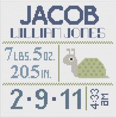 Customized Cross Stitch for Baby Pattern by piecesofcandycrafts, $8.00