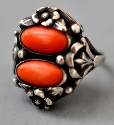 Double red coral ring set in silver Italian  19th c   info@singkiang.com