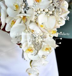 Free shipping Luxurious custom wedding Bouquet /waterfall shape/Shining brooch diamond orchid flower(China (Mainland))