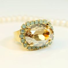 Mint Green Champagne Golden Brown opal Adjustable Oval by TIMATIBO, $32.00