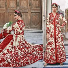 Cream Crepe Embroidered Semi Stitched Salwar Kameez