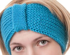 Winter Blue Knitted Headband Ear Warmer Head by LittleKnittedThing