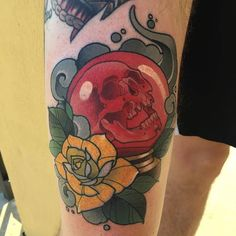 Crystal Skull Ball tattoo by @deadmeat at Integrity Tattoo in Royersford, PA #deadmeat #nicholaskeiser #integritytattoo #royersford #pennsylvania #crystalball #crystalballtattoo #skulltattoo #tattoo #tattoos #tattoosnob http://ift.tt/2vF7ujj