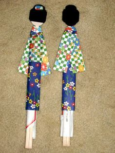 Japanese Paper Doll Chopstick holders