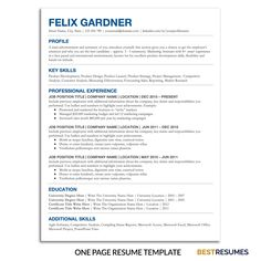 Looking for a simple resume template with a clean resume design and modern resume layout? This resume is designed for Google Docs so that you don't need any fonts or additional program. You can simply insert your information and resume formatting is done for you already. Transform your resume and stand out today! Visit www.BestResumes.info for more resume ideas and resume examples. #resumetemplate #resume #resumetips #bestresumes Business Resume Template, One Page Resume Template, Resume Cover Letter Template, Nursing Resume Template, Modern Resume Template, Resume Templates, Good Resume Examples, Resume Ideas, Resume Layout