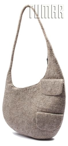 Bag. Felt - 100% wool. Handmade, solid-rolled. Technique - resist felting.  Color: tea mélange. Catalogue: Going Wild, 2016. Tumar Art Group.