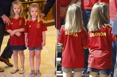 Proud wearing their shirts from 'The Red', the daughters of Prince Felipe and Princess Letizia, radiant in a flowing coral-colored dress, looked in awe at the players and the coach Vicente del Bosque, while one by one they performed the ceremonial greeting before the Royal Family.