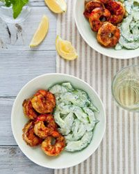 Spicy Curry Grilled Shrimp with Cucumber Salad Recipe on Food & Wine