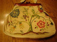 Vintage Jacobean Crewel Purse