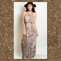 """ITS HERE Brown Tye Dye Blouson Maxi Dress New Brown Tye Dye Blouson Halter Top Maxi Dress Made in  USA Material: 95% VISCOSE 5% SPANDEX Size: Small, Medium, Large Fits true to size  Description: Small:  Length: 59"""" Bust: 38"""" Waist: 36"""" Medium: TBD Large: TBD Glam Squad 2 You Dresses Maxi"""