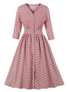 Vintage Dress Pink Polka Dot Long Sleeves V Neck Rockabilly Dress Formal Dresses With Sleeves, Plus Size Formal Dresses, Modest Dresses, Simple Dresses, Casual Dresses, Fashion Dresses, Summer Dresses, Emo Fashion, Pink Dresses
