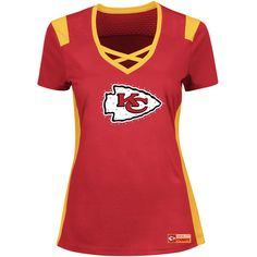 Profile Apparel Kansas City Chiefs Deep-V Jersey ($45) ❤ liked on Polyvore featuring tops