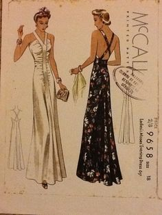 1930s evening gown, y-shape with ruching. McCall 9658
