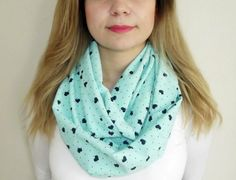 Mint Hearts Print infinity Scarf Fashion Scarves by HeraScarf