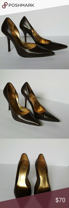 GUESS BY MARCIANO BROWN LEATHER HEELS Beautiful heels in perfect condition Guess by Marciano Shoes Heels