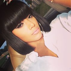 Buy Full Bangs yaki Straight Glueless Silk Top Non-Lace Bob Wig at WowEbony, Our Human hair affordable wigs are of super quality. Black Girl Bob Hairstyles, 2015 Hairstyles, Girl Short Hair, Short Hairstyles For Women, Hairstyles With Bangs, Weave Hairstyles, Straight Hairstyles, Short Haircuts, Medium Hairstyles