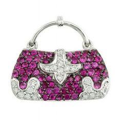 1.15 CT TW Pink Sapphire and Diamond Hand Bag Pendant  Price : $979.00 http://www.blountjewels.com/1-15-Pink-Sapphire-Diamond-Pendant/dp/B00929TIUI