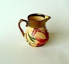 POPPIES - 1940s - Harvest Ware - Wade England - Creamer - Copper Lustre Trim - Abstract Floral  - Retro Serving - Recycled - Collectible