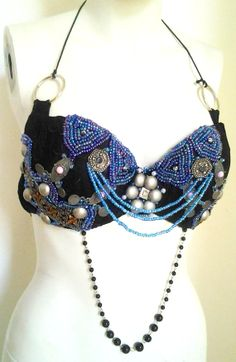 The Blueberry beaded tribal fusion by CsillaTribalDesign on Etsy