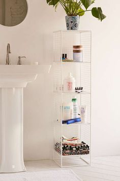 Slim Perforated Metal Storage - Urban Outfitters ; for the bathroom