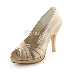 Satin Stiletto Heel Peep Toe / Pumps With Ruched Wedding / Party Evening Shoes (More Colors Available)