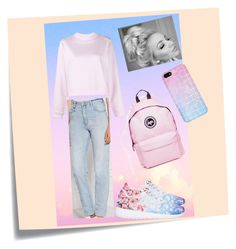 """""""pinky and...peaceful"""" by frani19 ❤ liked on Polyvore featuring Post-It, Acne Studios, Neuw, Hype, women's clothing, women, female, woman, misses and juniors"""