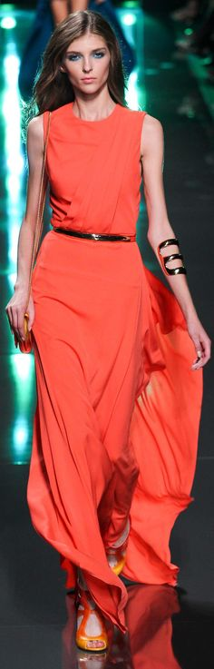 ELIE SAAB RTW SS 2015 | coral sheath evening gown