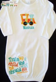 Train up a child the way he should go newborn boy layette gown coming home outfit personalized