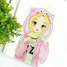 Hijab Anime, Hijab Drawing, Islamic Cartoon, Hijab Cartoon, Cute Love Pictures, Girly Drawings, Muslim Girls, Kawaii, Beautiful Drawings