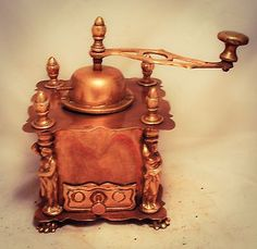 Antique Vintage Brass Coffee Grinder Copper Table Box Mill Lion foot Women c1870