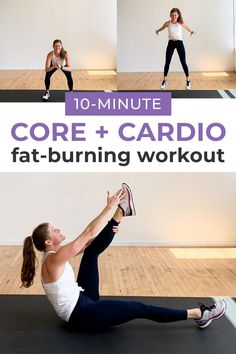 Get strong, lean abs with this 10-Minute ABS and CARDIO workout! We're combining strengthening bodyweight ab exercises with fat-burning HIIT for an effective, 10-minute workout! #hiit #cardio #abs #abworkout #abworkoutforwomen #homeworkouts Abs And Cardio Workout, 10 Minute Ab Workout, Cardio Abs, Mommy Workout, Summer Workouts, Barre Workout, Ab Workouts, Workout Videos, Fat Burning Cardio