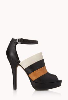Colorblocked Peep-Toe Heels | FOREVER21  Peep these new heels #Colorblocked #FauxLeather #PeepToe