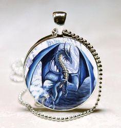 Blue Dragon pendant charm, Dragon necklace Glass Tile pendant, Dragon Photo necklace charm