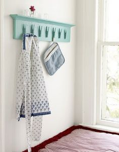 DIY-clothes pins shelf- cute for kids room, school room to hang art work, kitchen pot holders, towels, laundry room...