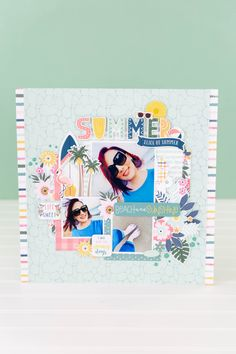 June Projects-2326 Party Layout, Make Your Own, Make It Yourself, Echo Park Paper, Summer Stripes, Sunny Days, Scrapbook Layouts, Scrapbooking, June