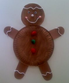 What a cute and simple Paper Plate Gingerbread Man craft.