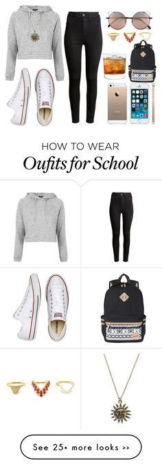 """Back to school"" by nailahmyers on Polyvore featuring Topshop, Converse, H&M, Linda Farrow and Yvonne Léon"